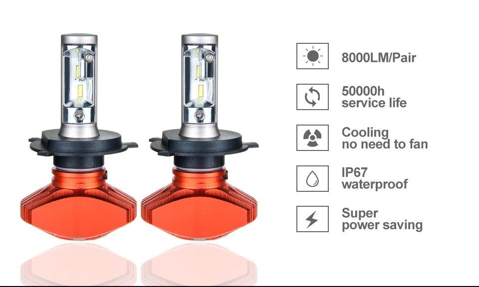 Zdatt AcooSun H4 H7 Led Car Bulb H11 H1 CSP LED Auto Headlight 80W 8000LMSet 9005HB3 9006HB4 H3K Led Fog Light White 6000K 12V 24V (3)