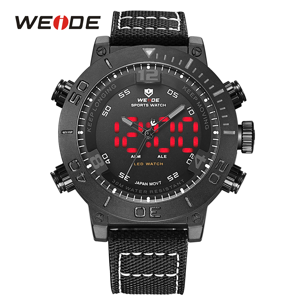 WEIDE Brand Watch Men LED Nylon Band Full Black Alarm Digital 24Hours Military Quartz Watches Analog Sport Wristwatch Army Clock<br>