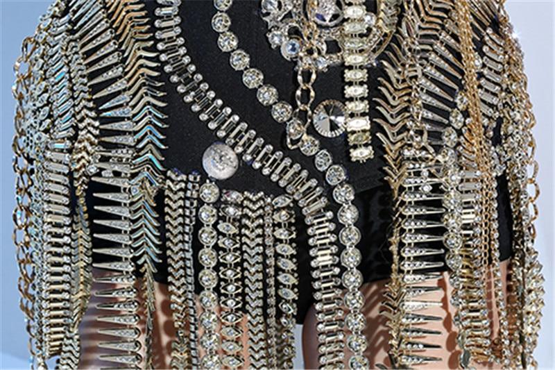 Nightclub female singer dj white punk ds rivet costume three-piece stage costume15