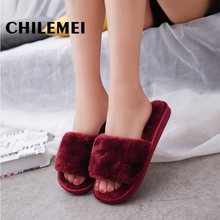 Plush flip flop slippers black spring autumn winter indoor slipper fuzzy Household Floor Slipper shoes ladies(China)