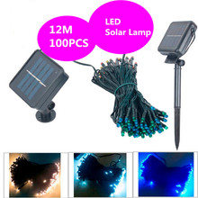 Solar string 12M 100 LED Powered Xmas garland fairy Camping christmas decoration waterproof Outdoor garden solar led light lamp(China)