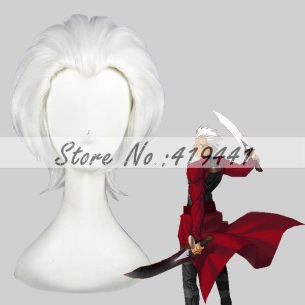 Free Shipping 35cm Short Fate/stay night Wig Shirou Emiya Archer Wig Cosplay White Synthetic Anime Wig Cosplay Hair Wig<br><br>Aliexpress