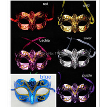 2015 Fashion mask gold shining plated party mask wedding props masquerade mardi gras mask 20pcs/lot mix color individual package