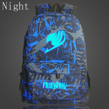 2017 New Japan Anime Printing Backpack Fairy Tail Luminous Backpacks For Teenagers Boy Girls School Bags Travel Rucksack Mochila(China)