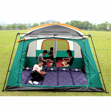 Luxury ultralarge Outdoor 6/8/10/12 Persons camping 4 Season Tent Two Bedroom Tent Big Space Camping Tent Party Family Tent(China)