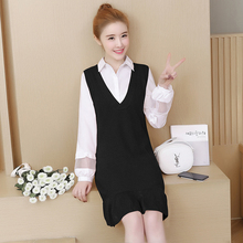 Pengpious 2018 Spring Office Clothes Set Knitted Ruffles Tank Dress+turn-down Collar Lantern Sleeve Shirts Female Dress Suits(China)