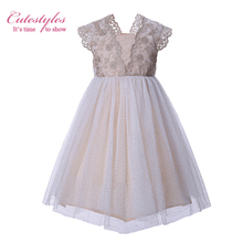 Cutestyles Beige Baby Girls Dresses For Party And Wedding Princess Embroidery Flower kids Dresses For Girls G-MBGD004-01(Hong Kong)
