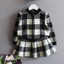 2017 Girls Long sleeves fashion casual clothes Princess party set Plaid cardigan sweater +Girl skirt Children's clothing Y63105(China)