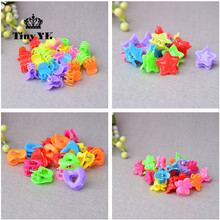 25pcs Todder Accessories Mini Hair Claw Clamps Flower Heart Plastic Hair Clips Grips Hair Jaw Mix Color(China)