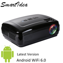 Nova Chegada SmartIdea Projetor Android 6.0 1080 P HD LED Projetor Multimídia Casa Inteligente 3D Digital Video Game Proyector Beamer(China)
