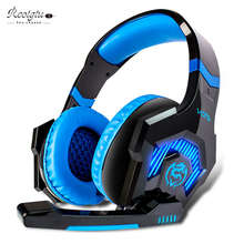 New diver unit big Headphones gaming headset with microphone for computer noise cancelling Over-ear headband with LED light
