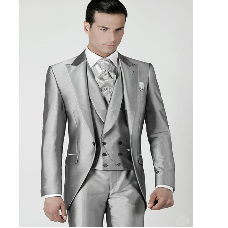 17-1 Mens Wedding Suits 2017 Silver Prom Groom Tuxedos Jacket+Pants+Vest Custom Made Wedding Suits For Men Groomsmen Suits