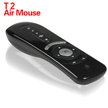 MINI Fly Air Mouse T2 Remote Control 2.4GHz Wireless 3D Gyro Motion Stick For Android TV Box Google TV Media Player best price(China)