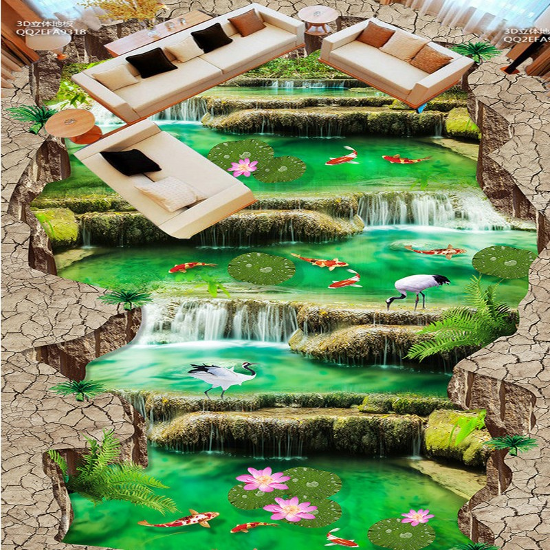 Free Shipping self-adhesive PVC floor wallpaper Waterfalls outdoor 3D stereo flooring mural<br>