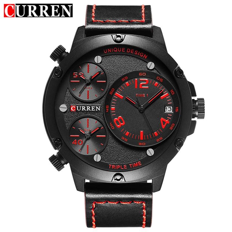Curren Men Watches Leather Strap Quartz Watch Men Analog Casual Multiple Time Zones Sports Wrist Watch Relogio Masculino KREb14<br><br>Aliexpress