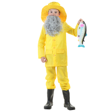 Limited Child Fisherman Bright Yellow Windbreaker Fabric Costume Great Idea For Halloween Come With Old Man Look Grey Beard(China)