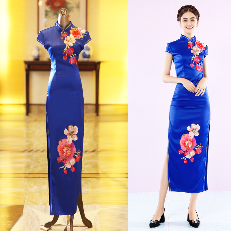 Backlakegirls Elegant Self-cultivation Chinese Style Evening Dress Elegant High Neck Embroidery Flowers Evening Gowns Hot Sale