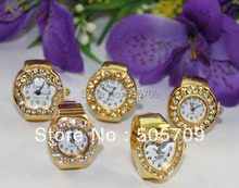 10PCS mixed styles of rhinestone golden elastic finger ring watches #22368(China)