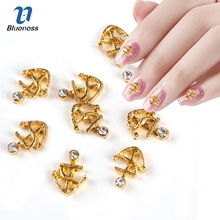 10pc Golden Alloy Glitter 3d Nail Art Anchor Decorations with Rhinestones,3D Nail Charms,Jewelry on Nails Salon Supplies TN666