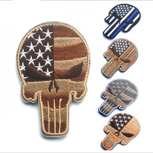 Proud Way Dole 3d Embroidery Punisher Chest Stickers Bracelet Tactical Badge Cloth Paste(China)