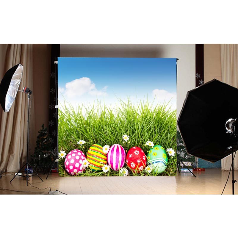 1.5X1.5MBlue sky and white clouds and colored eggs and green grass happy Easter printed vinyl background GE-126<br><br>Aliexpress
