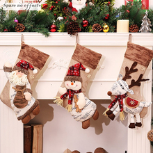 Christmas Decorations Free 2017 Christmas Stocking Clthes Santa Socks Christmas Gift For New Year Candy Gift Bags For Kids(China)