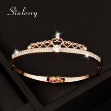 SINLEERY Top Quality Crystal Crown Bracelet & Bangle For Women Rose /White Gold Color Bangle 2017 New Fashion Jewelry Sl037(China)