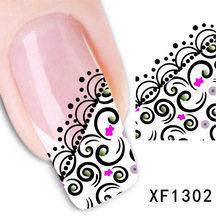 2017 Special Offer Sale Manicure Nails 2 Sheets Stickers Nail Watermark Zipper Row Of Pens Flower Sticker Manufacturer Xf1302(China)