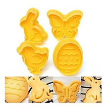 4 pcs/set Butterfly,Rabbit,Chick,Easter Egg Shape Animal Plastic Fondant Cookie Cutter Biscuit Cake Mold Cake Decoration A1114