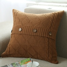Cotton Knitting Pillow Case Square Cushion Case Living Room Couch Decorative Pillowcases 45x45cm (Not Including Filling)
