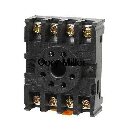 DIN Rail Mounted 8 Round Pins Relay Holder Socket Base PF083A for MK2P-I AH2-Y<br><br>Aliexpress