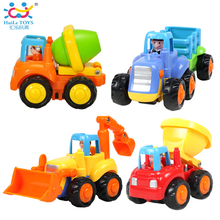 (Set of 4) Classic City Building Construction Series of Children's Toys Mini Car Smiley Baby Truck Back Car Inertial Car Gifts(China)