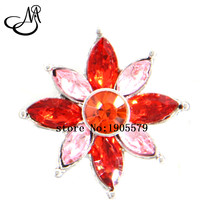 Metal Snaps Pink&Red Rhinestone Orchid Flower Snap Buttons Charm 18mm snap ginger charms  jewelry SB2299