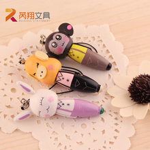 1Pcs Novelty Creative Kawaii Stationery Cartoon Wooden Short Pens 0.5mm Blue Ink Mini Portable Ball Pen for Student Child Gift(China)