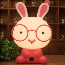 Cute Night Light Baby Room Wearing Glasses Rabbit Cartoon Night Sleeping Light Kids Bed Lamp Night Sleeping Lamp(China)