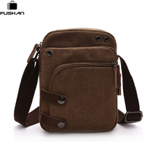 FUSHAN Fashion Men Shoulder Bag High Quality Canvas Computer Crossbody Bags Casual Travel Bags Military Men Messenger Bags(China)
