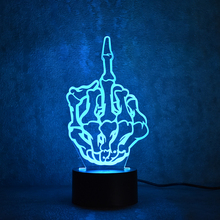 Creative 3D Led Skull Decor Visual Colorful Light Fixture USB Table Lamp Novelty Fashion Middle Finger Lamp Sleeping NightLight