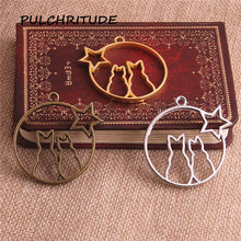 Buy PULCHRITUDE 6pcs/lot Metal Zinc Three Colors Cute Cat Charm Stars Pendant Blank Tray Bezel Diy Jewelry Making c2111 for $4.03 in AliExpress store