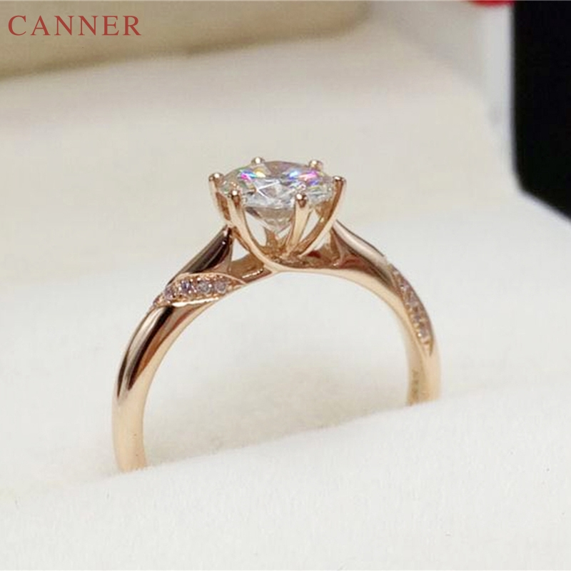 Rose Gold Color Zircon Adjustable Rings for Women Engagement Wedding Ring Silver Jewelry bague anillos plata 925 para mujer C40