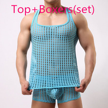 tank top men fashion sexy gay male shorts Cute underwear set Mesh net fishnet undershirts vest clothing bodybuilding hollow out