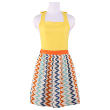 Neoviva Cotton Kitchen Apron for Housewife with Hidden Pockets, Style Marie in Geometric, Chevron Rainbow Yellow