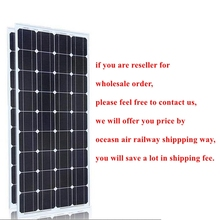 20V 100 Watts Solar Module with Glass laminate Aluminum Frame Monocrystalline silicon 36pcs Cells 100w Solar Power Station(China)
