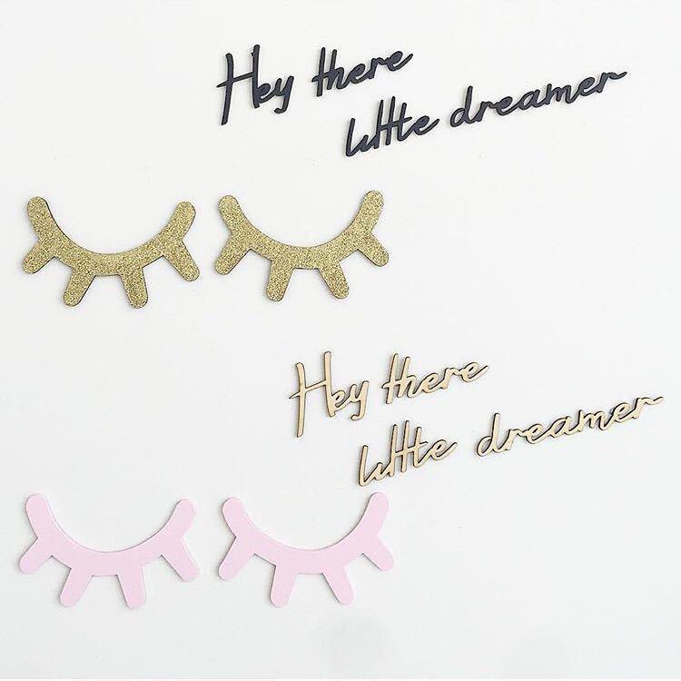HTB1Ge3FRFXXXXXiXVXXq6xXFXXXJ - Urijk 2PCs Ins Nordic Wood Eyelashes Cartoon 3D Wall Sticker DIY Children Bedroom Props Home Living Room Decoration 15*11cm