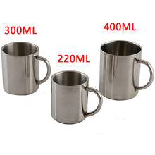 Top Sale 1pcs New 220ml 300ml 400ml Stainless Steel Portable Mug Cup Double Wall Travel Tumbler Coffee Mug Tea Cup(China)