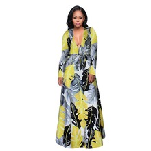 Buy 2017 new Print Cuffed Long Sleeve Belted Wrap Dress Deep V Neck Line Maxi Dress Elegant Long Sexy Dresses D1604 for $19.25 in AliExpress store