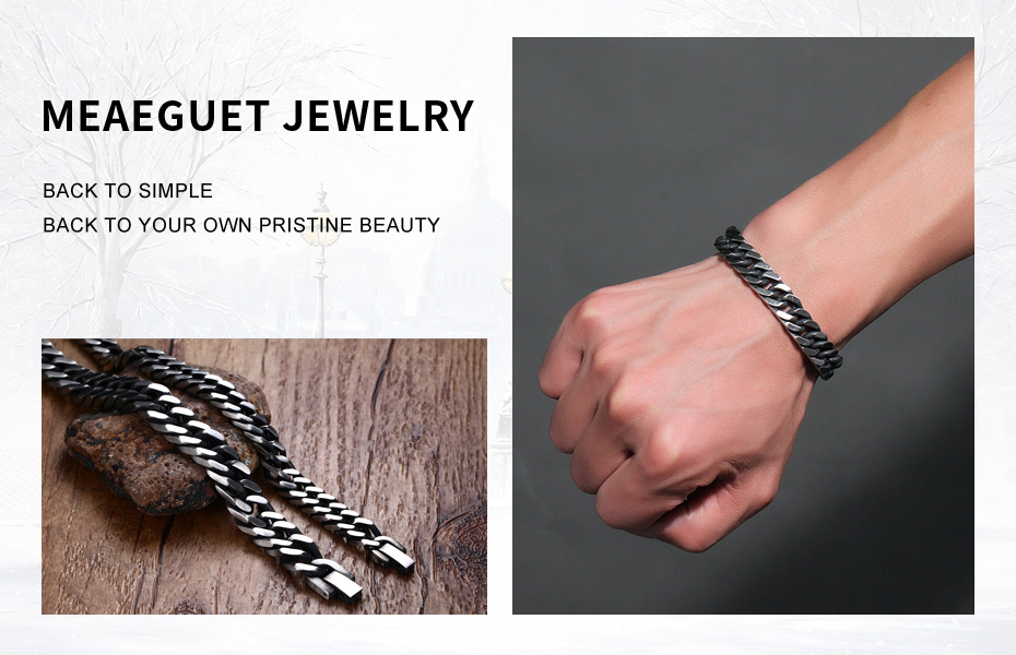 Meaeguet 8mm Wide Vintage Stainless Steel Chain Link Bracelet Men Jewelry Matte Finished Hand Chain Bracelet & Bangle (2)