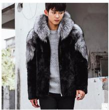 Casaco Masculino Mens Winter Autumn Imitation Fur Coats Hooded Casual Man-Made Mink Fur Overcoats For Male Faux Fur Outwear Cj54