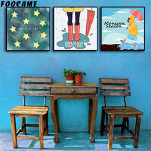 FOOCAME Cartoon Star Umbrella Rain boots Art Canvas Posters and Prints Art Canvas Painting Home Decor Pictures For Living Room(China)