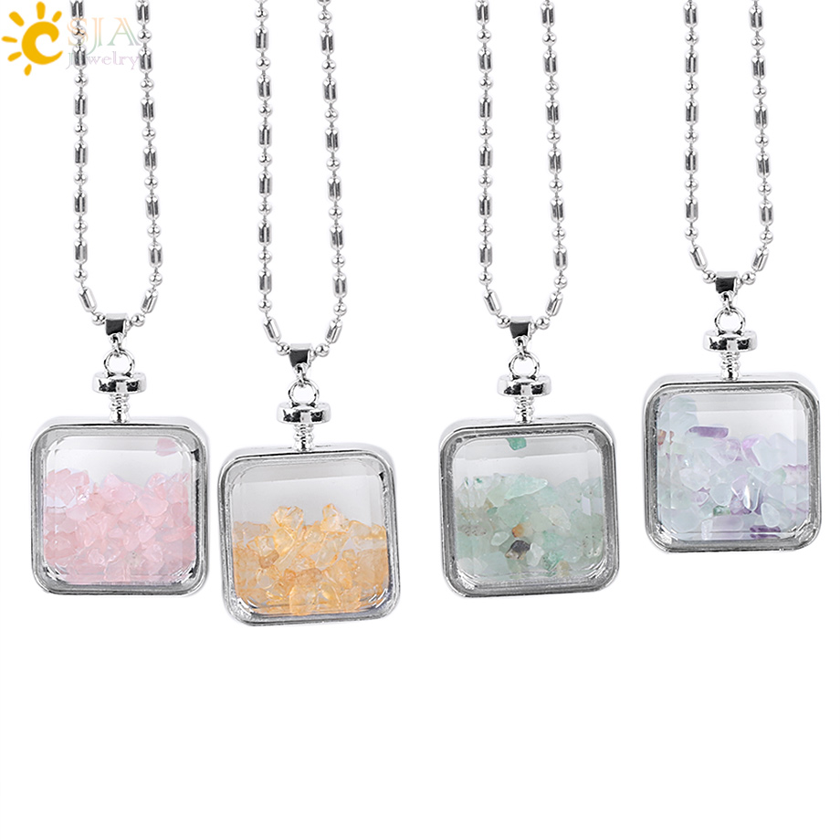 CSJA Natural Fluorite Crystal Stone Beads Chip Clear Glass Square Wish Box Wishing Bottle Charms Pendant Necklace Jewelry E044
