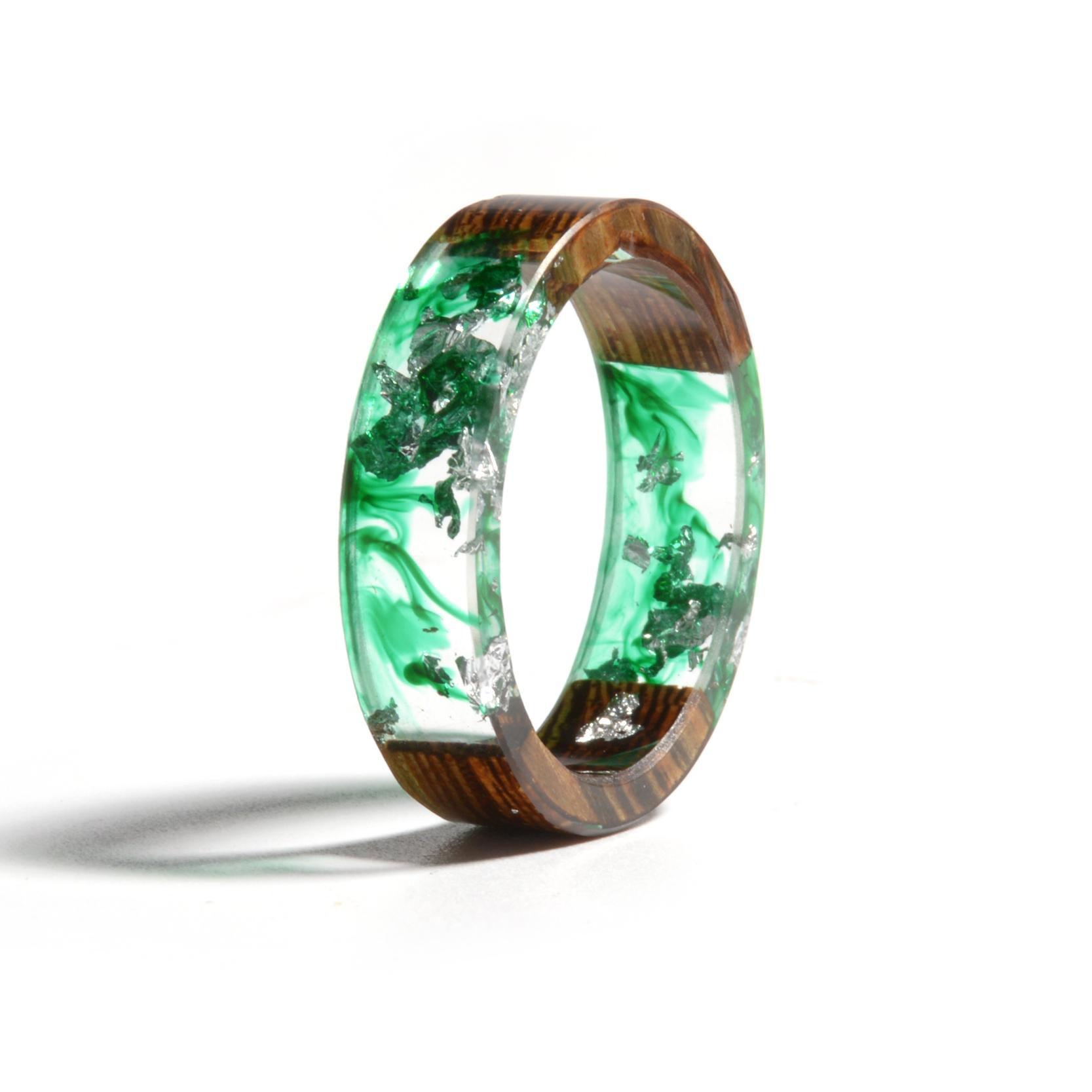 Clear Wood Resin Ring Handmade Dried Flower Hand Jewellery 16